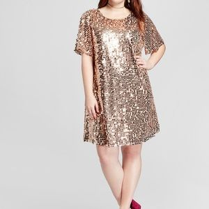 Plus size/ maternity rose gold sequin dress